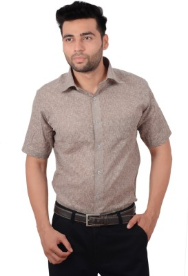 Studio Nexx Men's Woven, Checkered Formal Brown Shirt