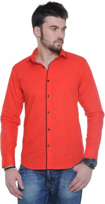See Designs Men's Solid Casual Red Shirt