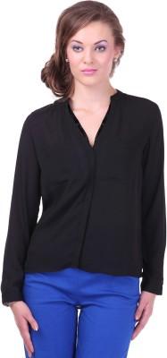 Street 9 Women's Solid Casual Black Shirt