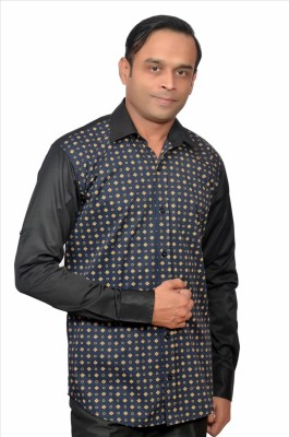 Adam In Style Men's Printed Casual Black, Blue Shirt