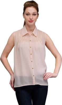 Gloria Women's Solid Casual Beige Shirt