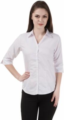 Shoprillo Women's Solid Formal White Shirt