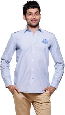 Fashion My Day Men's Striped Casual Blue Shirt