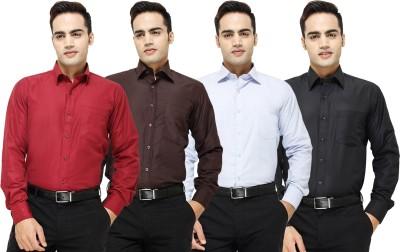 Yuva Men's Solid Formal Maroon, Brown, Light Blue, Black Shirt