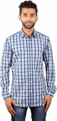 maclavaro Men's Checkered Casual Blue Shirt