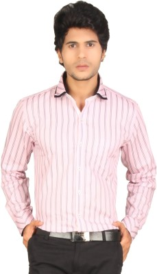 Red Country Men's Striped Casual, Party Pink Shirt