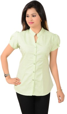 Jazzy Ben Women,s Solid Formal Green Shirt