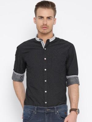 Harvard Men's Printed Casual Black, White Shirt
