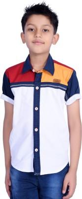 Hive Boy's Printed Casual White Shirt