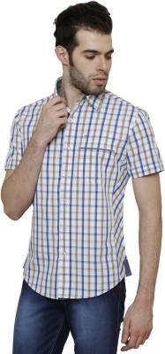 True Tittos Men's Checkered Casual Light Blue, Beige, White Shirt