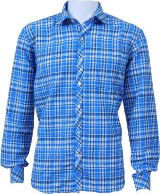 Ardeur Men's Checkered Casual Blue Shirt