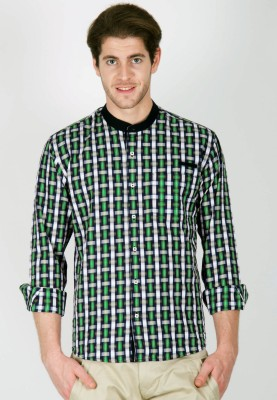 Cairon Men's Checkered Casual Green Shirt