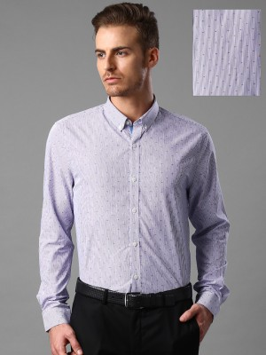 Invictus Men's Striped Formal Purple Shirt