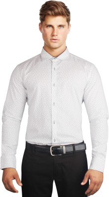 Daniel Perry Men's Printed Casual, Festive, Party White Shirt