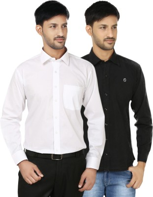Hi Man Men's Solid Casual Black, White Shirt