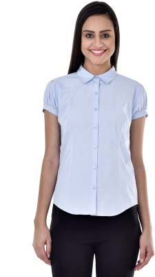 Colors Couture Women's Printed Casual Blue Shirt