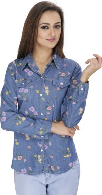 Svt Ada Collections Women's Printed Casual Denim Blue Shirt
