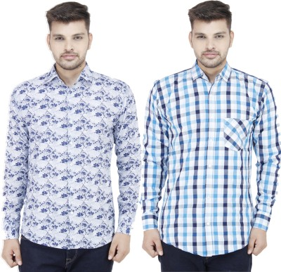 Movitex Men's Printed Casual Blue Shirt