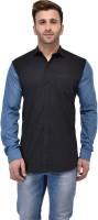 Pickurs Formal Shirts (Men's) - Pickurs Men's Solid Formal Black, Blue Shirt