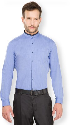 Black Coffee Men's Solid Casual Blue Shirt