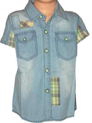 Habooz Boy's Solid Casual Denim Light Blue Shirt