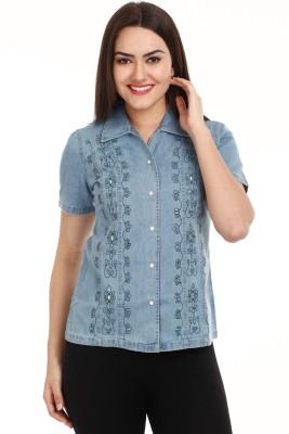Mustard Women's Self Design Casual Blue Shirt