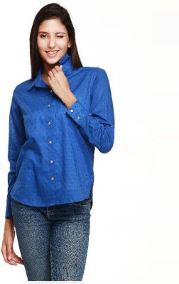 Guapa Spain Women's Embroidered Casual Blue Shirt