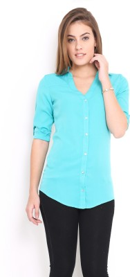 Trend Arrest Women's Solid Casual Green Shirt