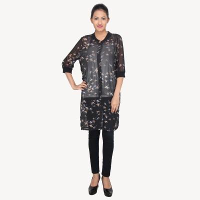 LondonHouze Women's Printed Casual Black Shirt