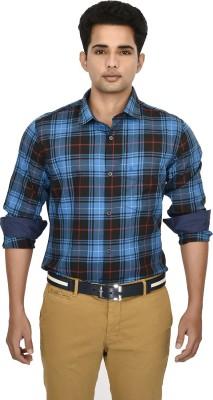Hackensack Men's Checkered Casual Black, Blue Shirt