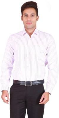 Willmohr Men's Striped Formal Pink Shirt