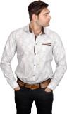 Lomhara Men's Printed Casual White Shirt