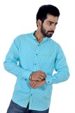 Tenor Men's Printed Casual Blue Shirt