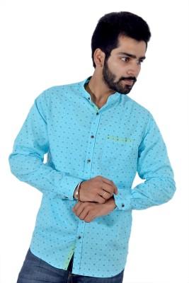 Tenor Men's Printed Casual Blue Shirt