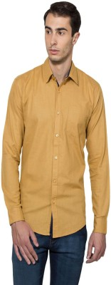 Lee Marc Men's Solid Casual Yellow Shirt