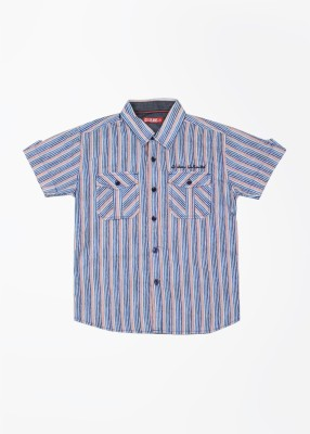 Gini & Jony Boy's Striped Casual Red Shirt