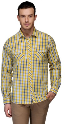 Canary London Men's Checkered Casual Yellow Shirt