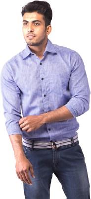 Indian Weller Men's Solid Casual Linen Blue Shirt