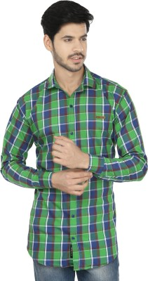 Perky Look Men's Checkered Casual Green, Blue Shirt