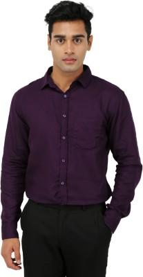 Aaral Men's Solid Formal Purple Shirt