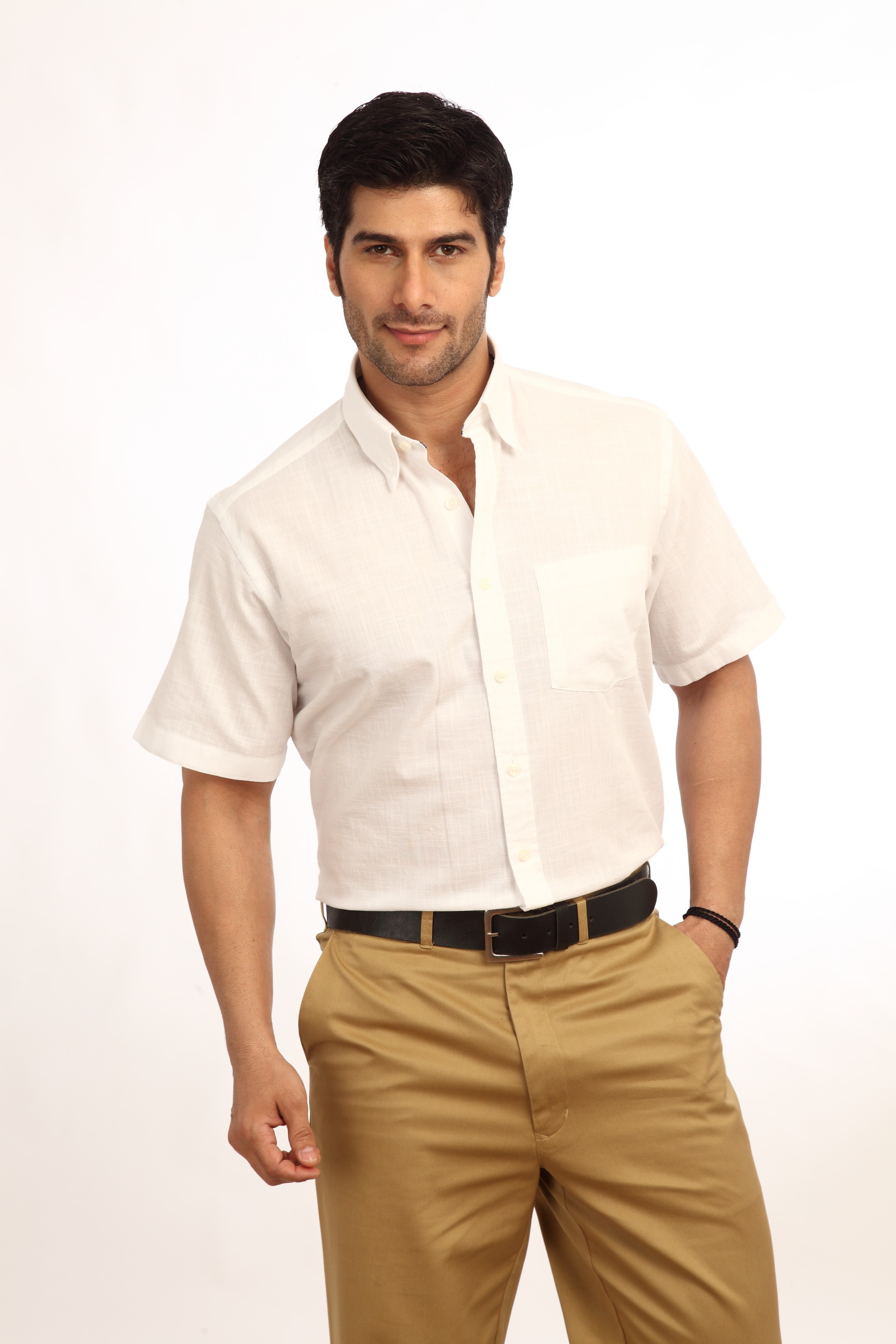 ColorPlus Mens Solid Casual White Shirt