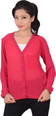didara Women's Solid Formal Red Shirt