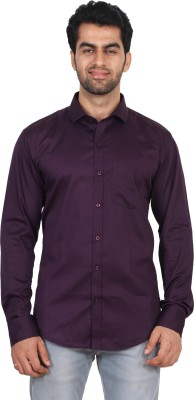 Rollinia Men,s Houndstooth Casual Purple Shirt