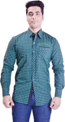 Krazzy Collection Men's Checkered Casual Green, Black Shirt