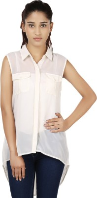 India Inc Women's Solid Casual White Shirt