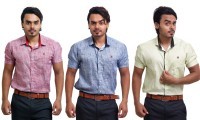 Pp Shirts Formal Shirts (Men's) - PP Shirts Men's Printed Formal Multicolor Shirt(Pack of 3)