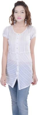 OVIYA Women,s Striped Casual White Shirt