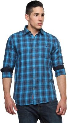 British Club Men,s Checkered Casual Blue, Blue Shirt