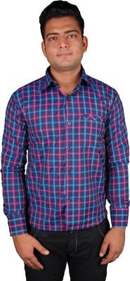Favourite Men's Checkered Casual Blue Shirt