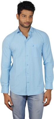 V Seven Men's Checkered Casual Blue Shirt